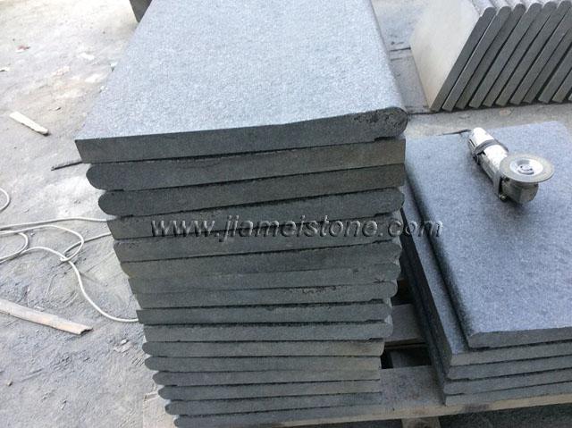 Popular G684 black granite pearl basalt stone finish type - Flamed and Brushed VA62