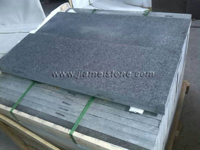 G684 Black Granite Pearl Basalt Stone Finish Type Flamed
