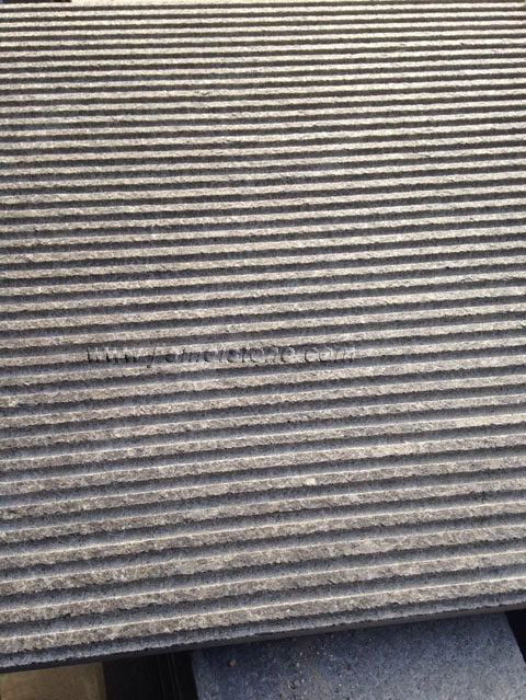 G684 Black Granite Pearl Basalt Stone Finish Type Grooved