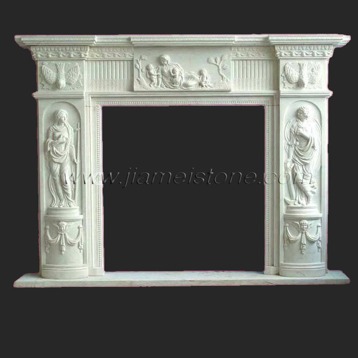 Marble Fireplaces Surrounds Mantles Travertine Sandstone Limestone Carved Black Granite Hearth China Supplier Statue