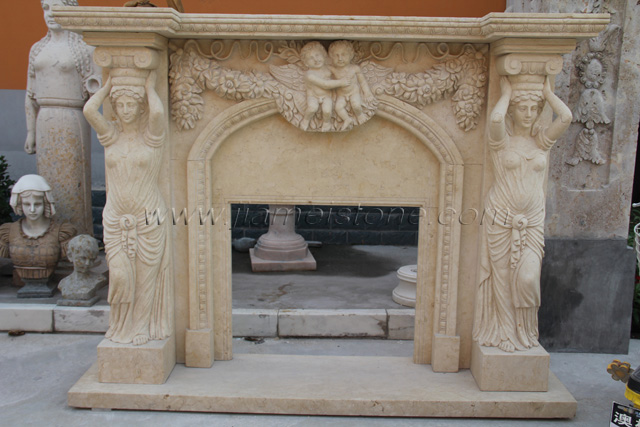 Fireplace Sc040 Marble Fireplace Surround Statue Carved