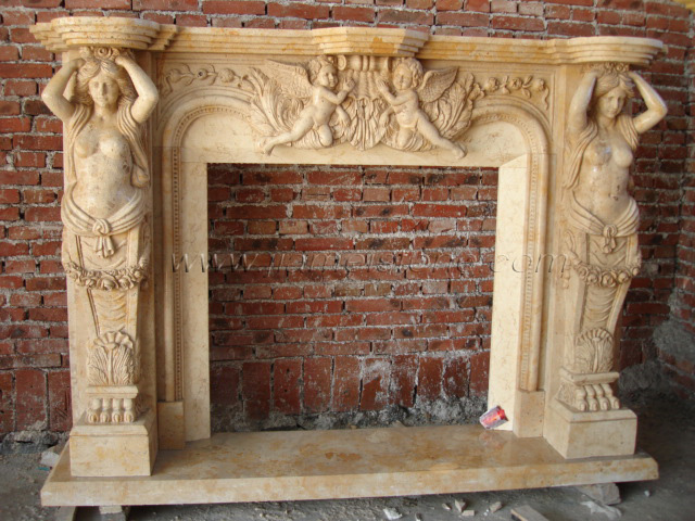 Fireplace Sc046 Marble Fireplace Surround Statue Carved