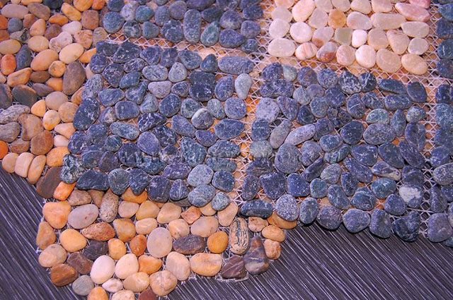 Pebble Stone With Mesh Backing Pebble Stone Tiles Mosaic