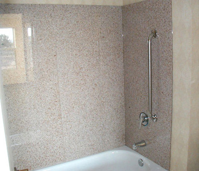 Spray White; granite shower wall panels